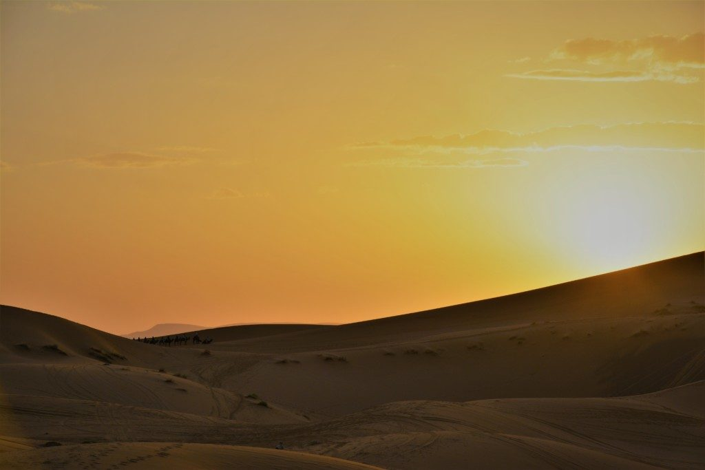 Se solen gå ned i ørkenen